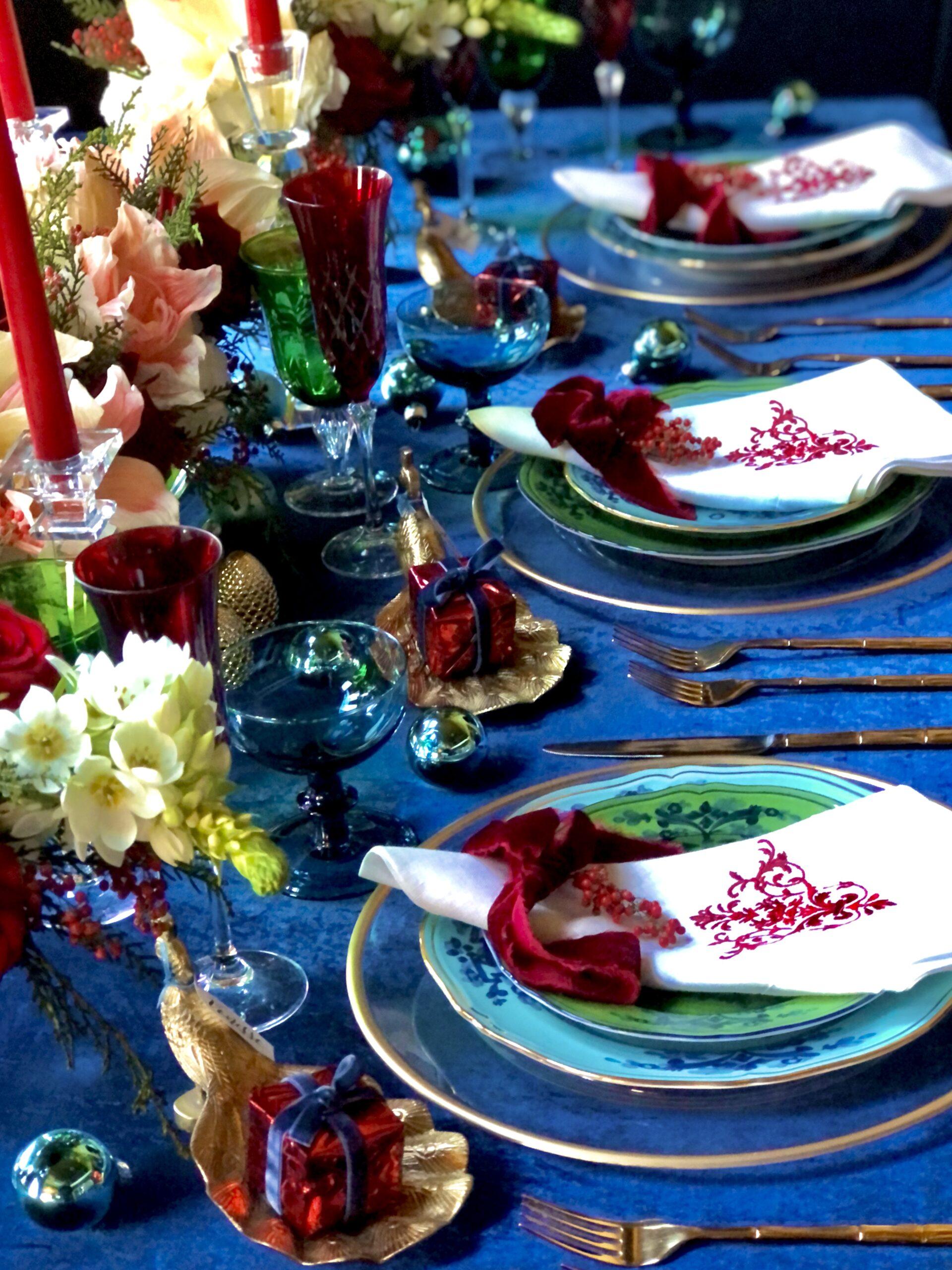 Christmas table with Richard Ginori Oriente Italiano