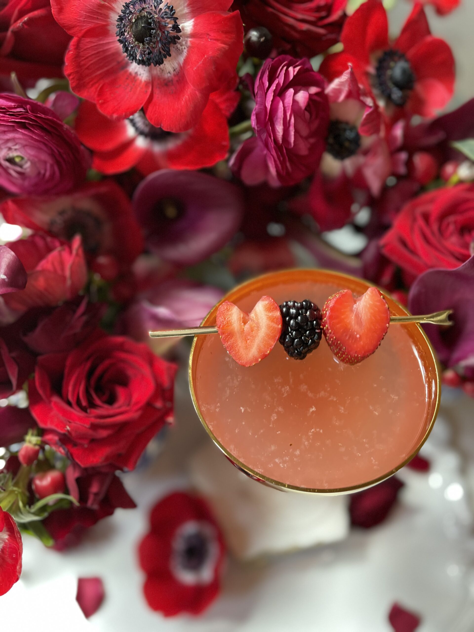 valentine cocktail, champagne in the ombre