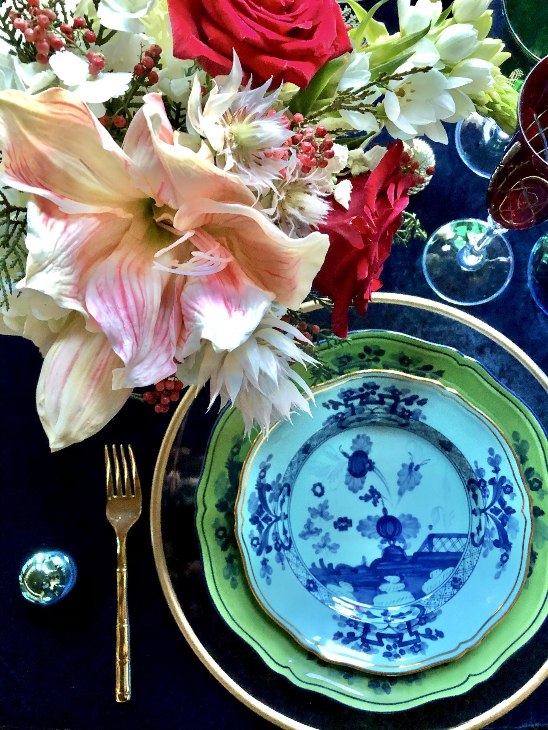 Christmas Table, Richard Ginori Oriente Italiano turquoise and Azur