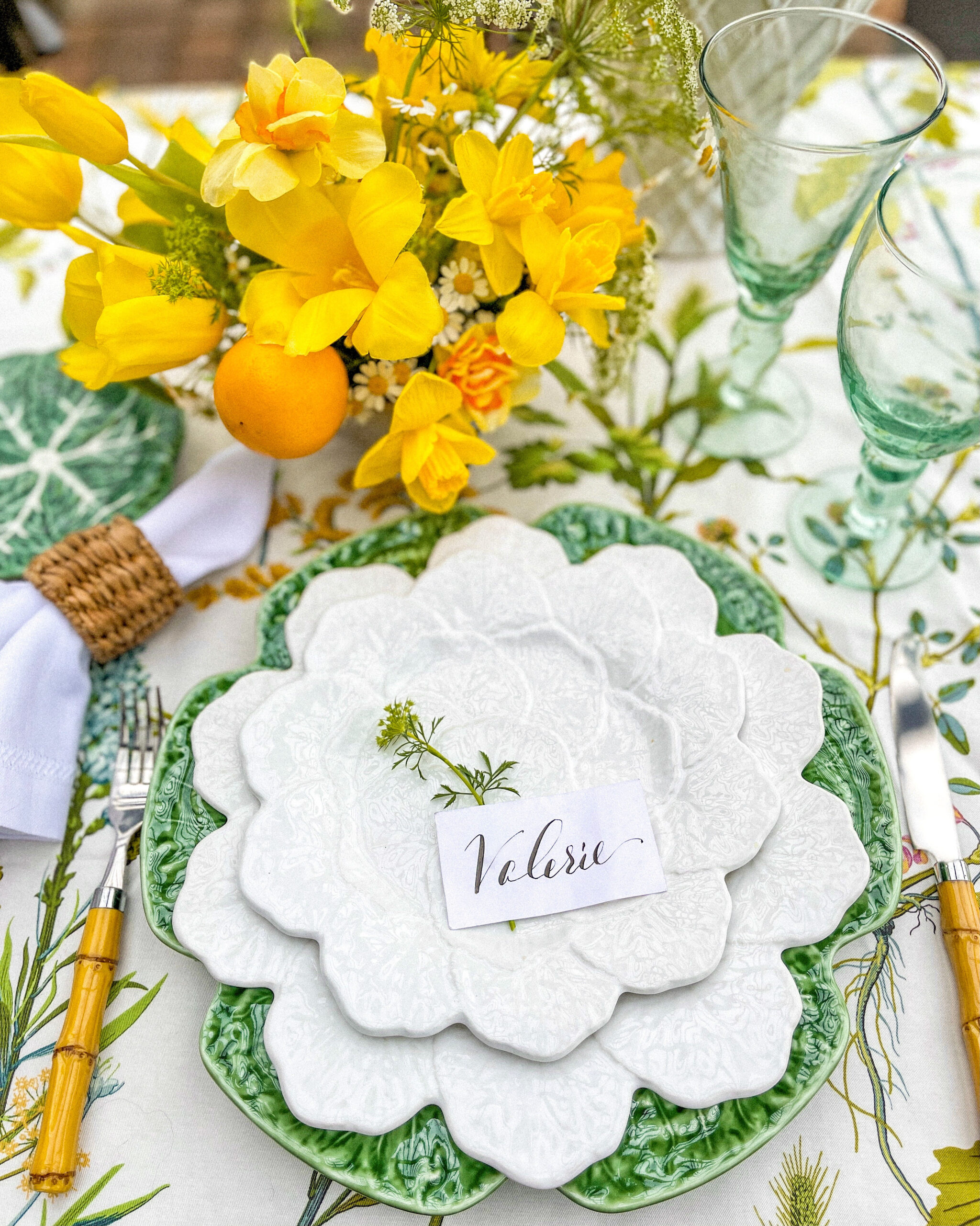 Spring table with cabbage plates