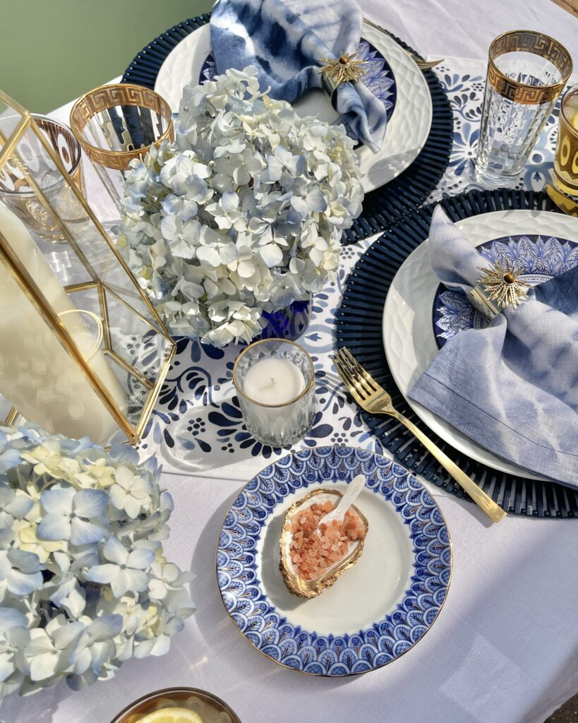 Blue and White Mediterranean Inspired Table