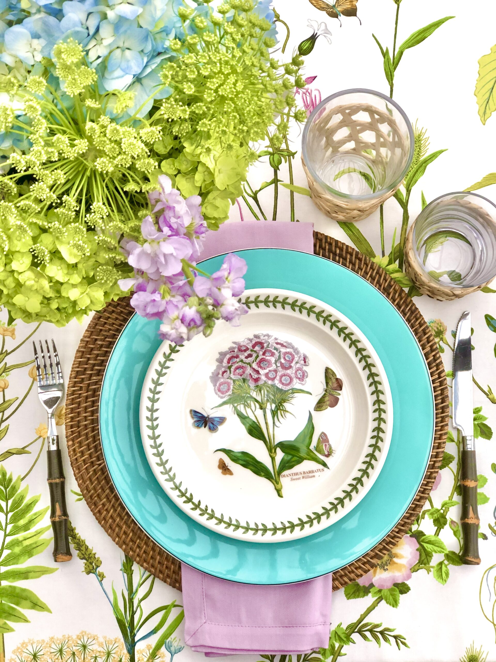 Spring place setting portmerion floral plate