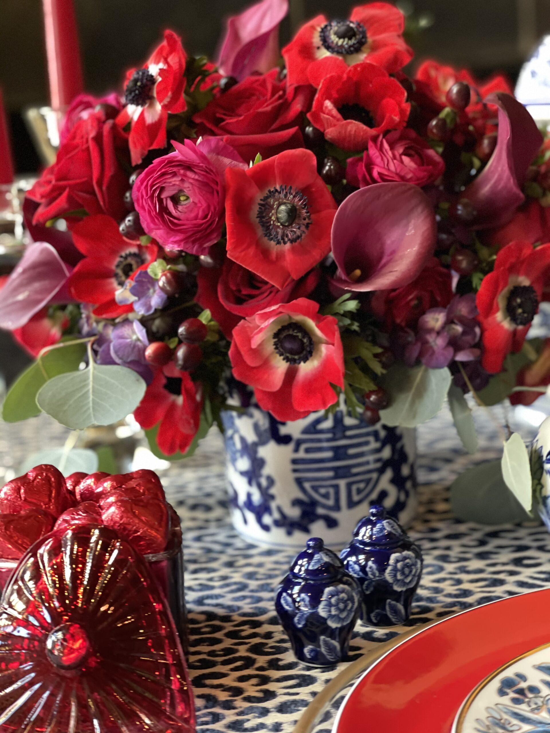 valentines or galentines floral centerpiece/ arrangement
