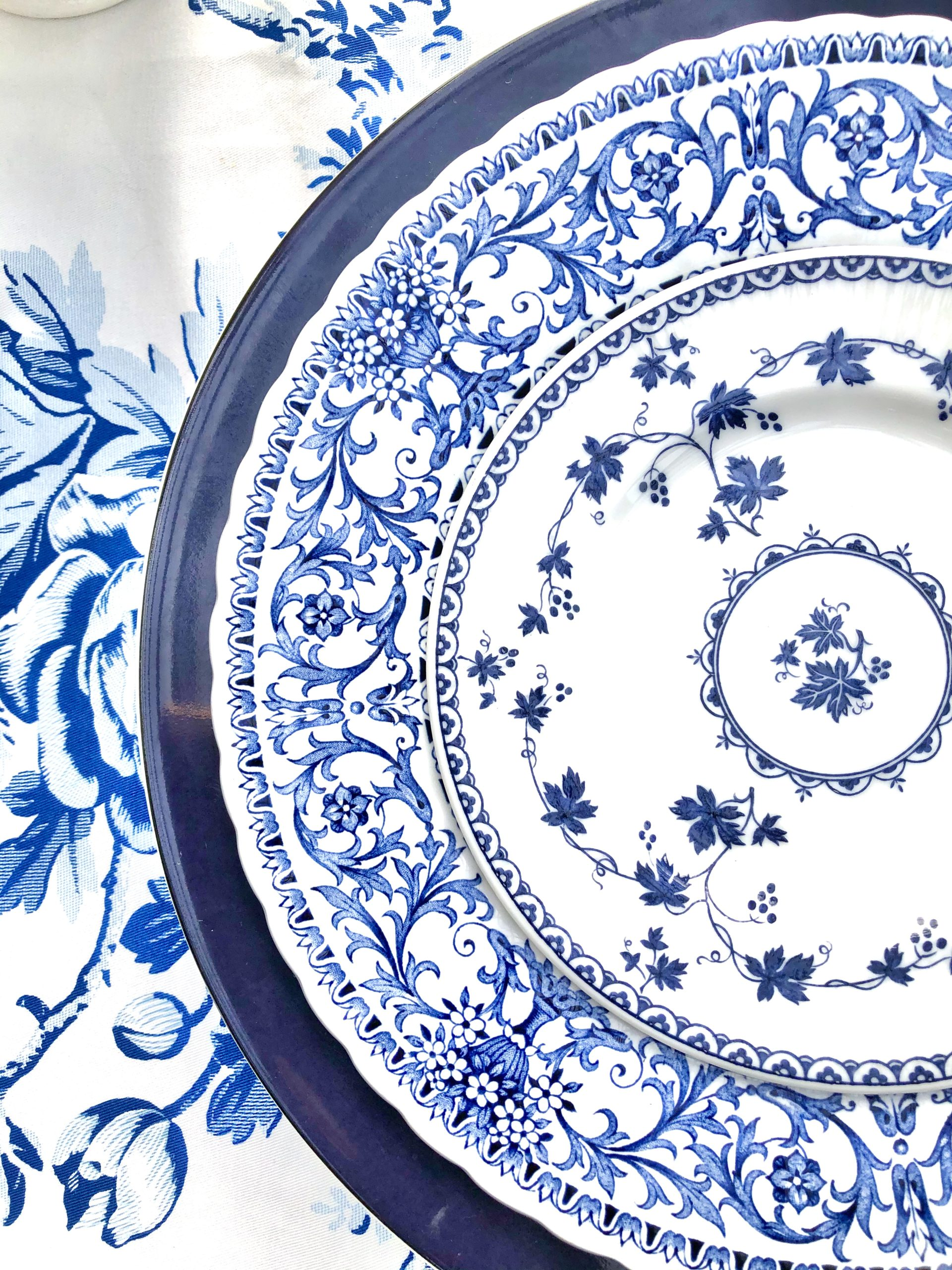 blue and white place settings