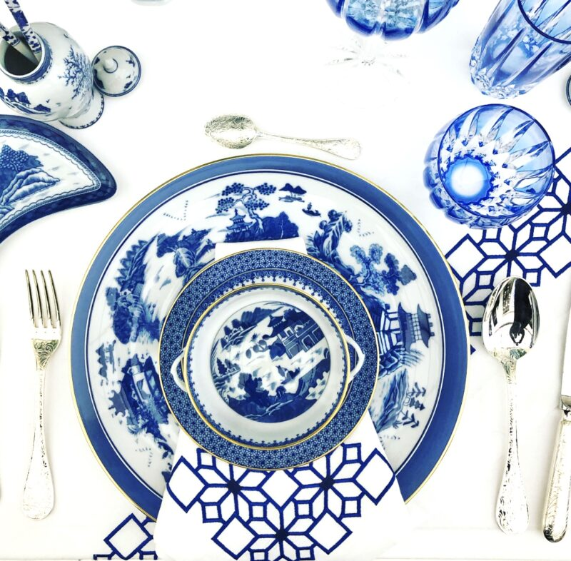 mottahedeh blue and white placesetting