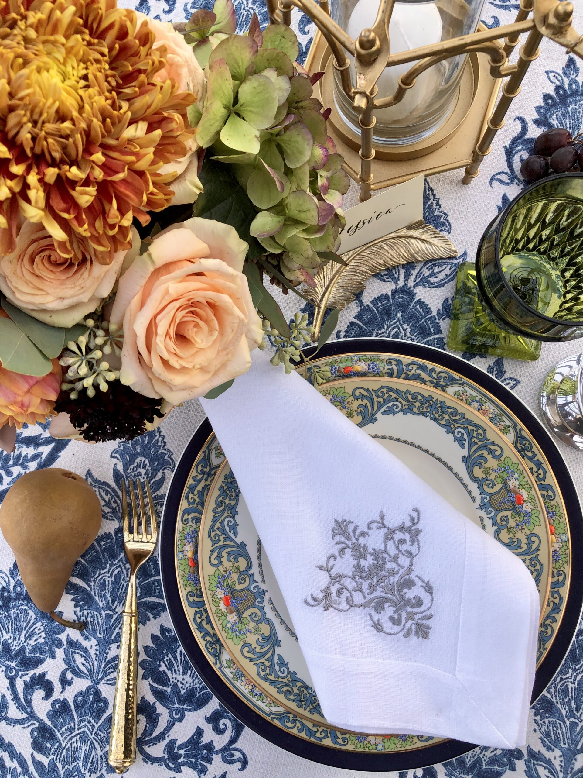 Lenox Autumn Collection and Crown Linens dinner napkin