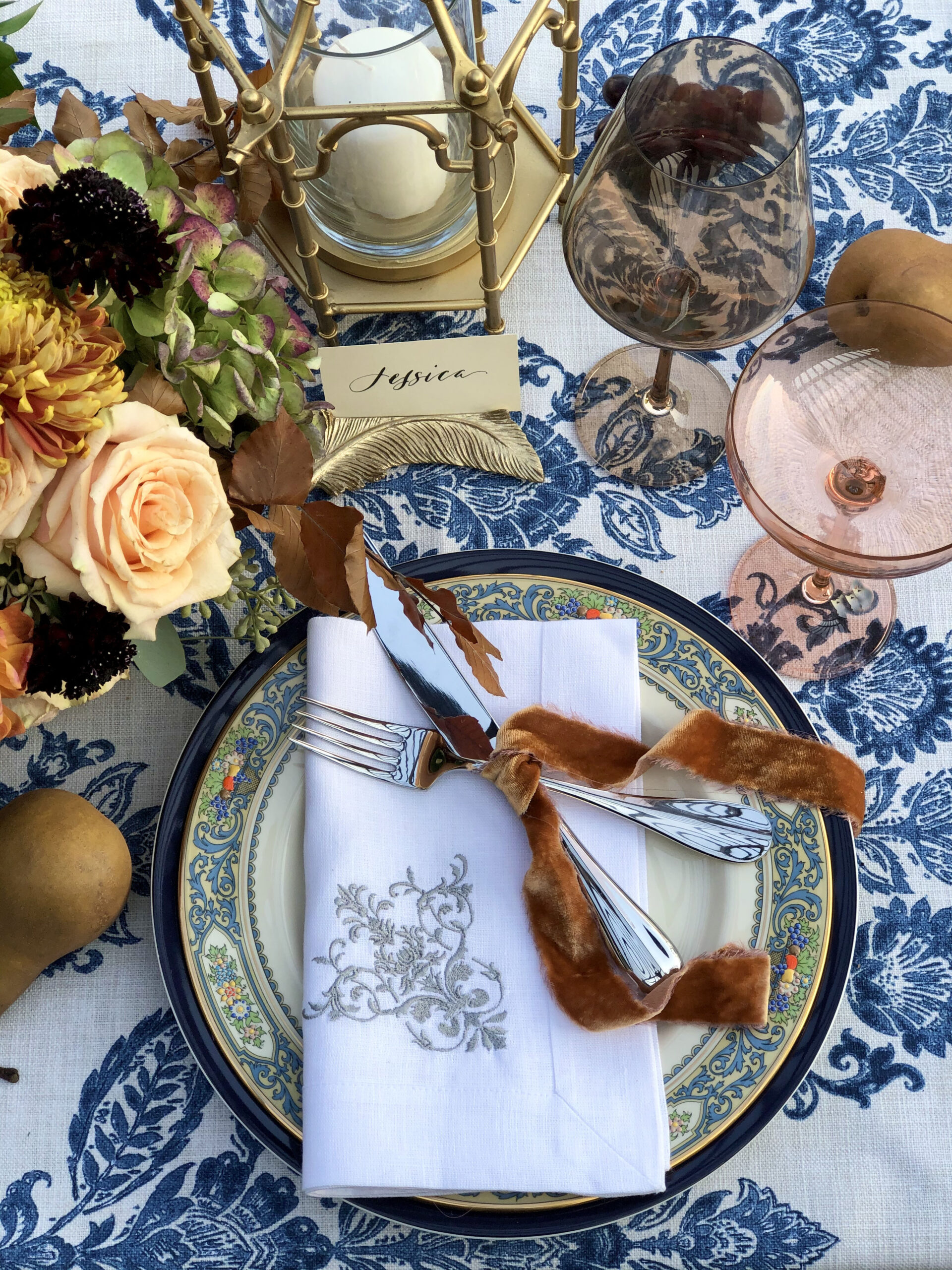 Thanksgiving Place setting with Lenox Autumn Plates and Estelle glasses