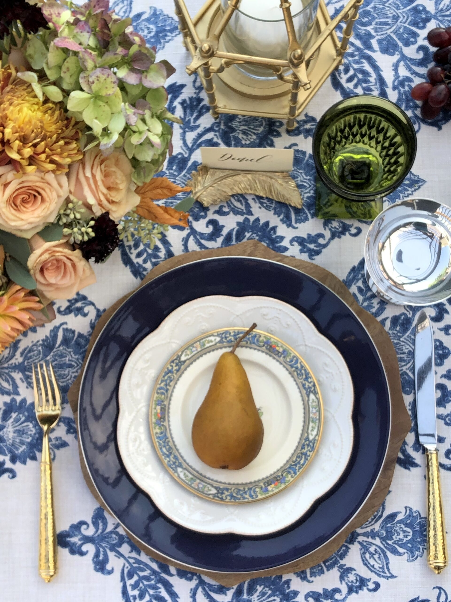 Thanksgiving Place setting Lenox Autumn Plate and Lenox French Perle Accent plate