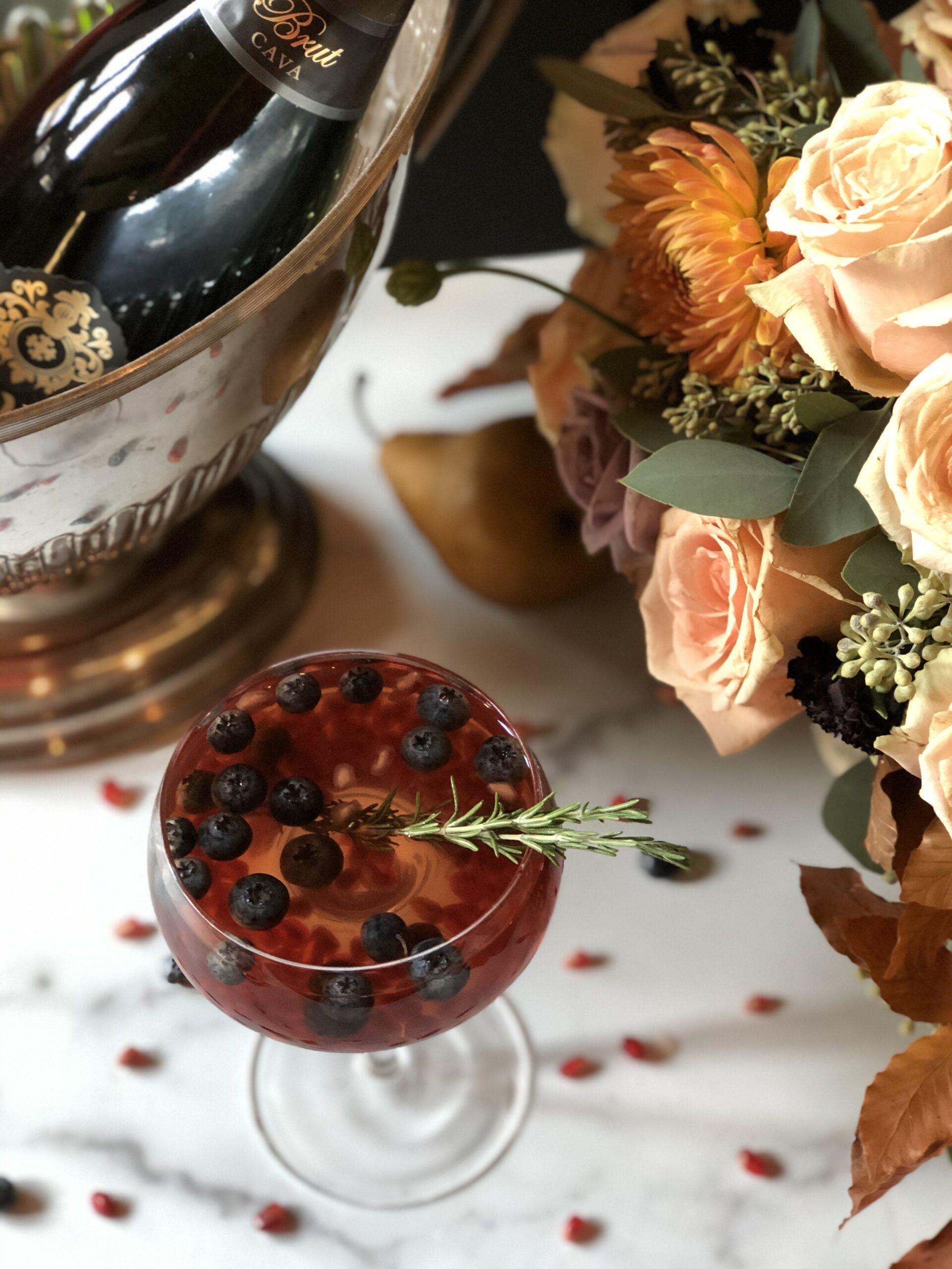 Sparkling Pomogranate Rosemary Spritzer Cocktail