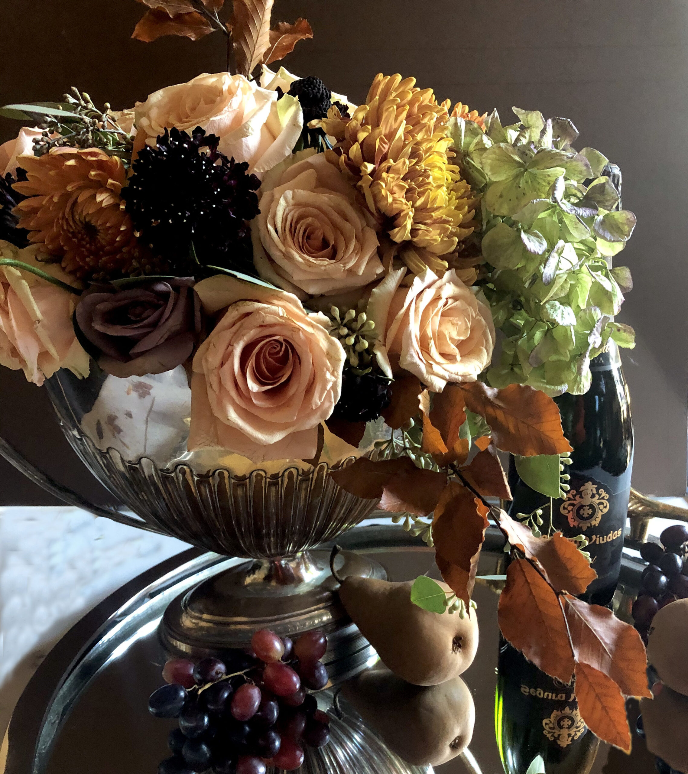 Thanksgiving\ Fall Flowers in Silver Tureens in