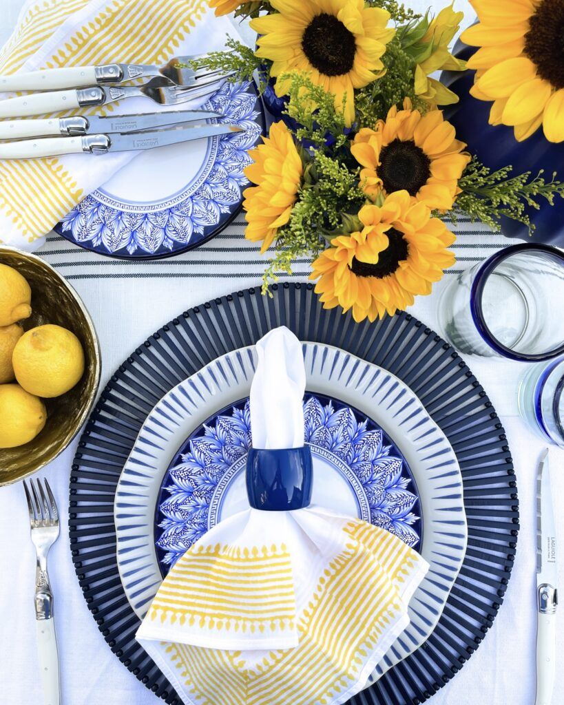 Blue, white and yellow Mediterannean Inspired