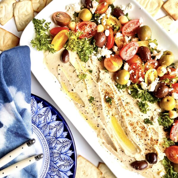 A Mediterranean Loaded Hummus Platter- An Easy and Delicious Appetizer