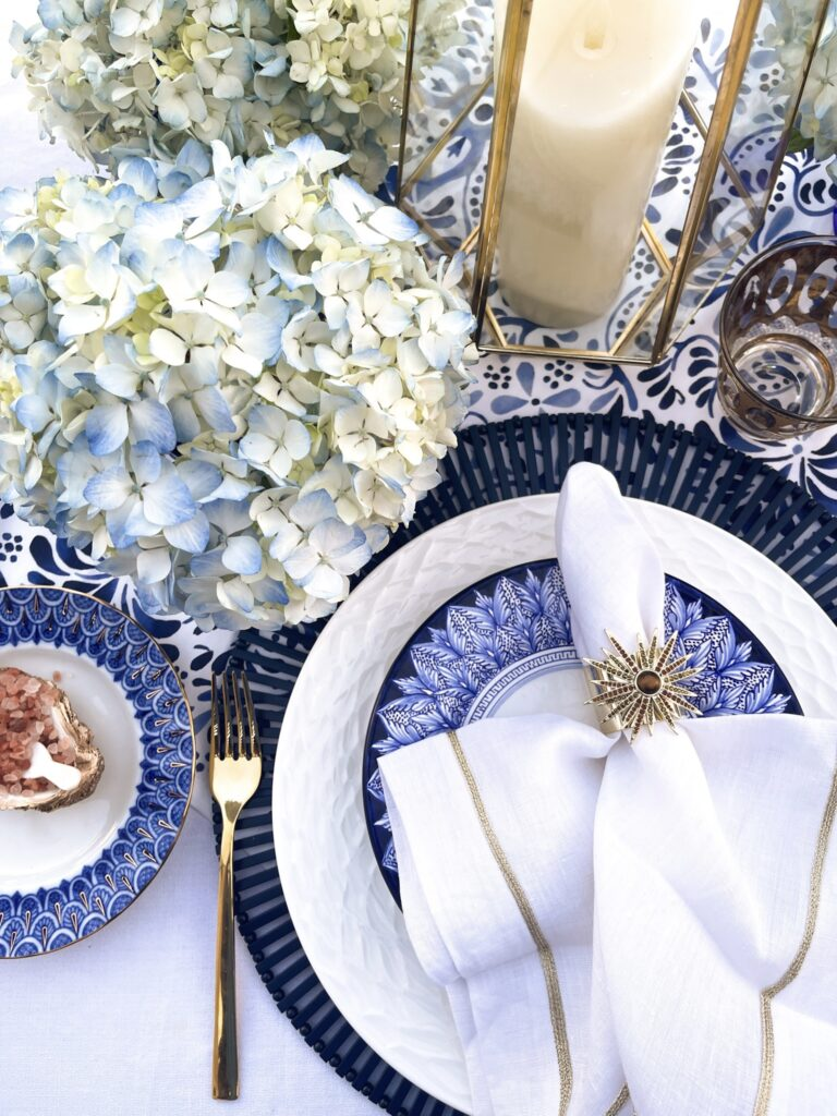 blue and white Mediterranean- Inspired le